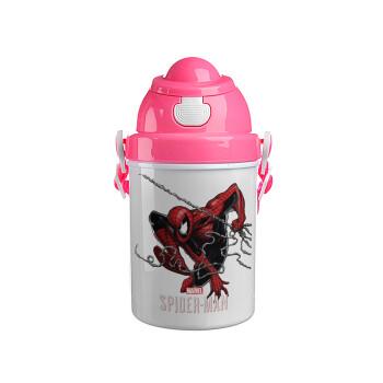 Spider-man, Ροζ παιδικό παγούρι πλαστικό (BPA-FREE) με καπάκι ασφαλείας, κορδόνι και καλαμάκι, 400ml