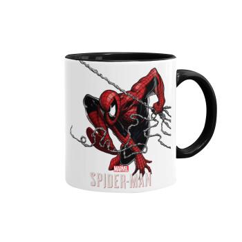 Spider-man, Κούπα χρωματιστή μαύρη, κεραμική, 330ml