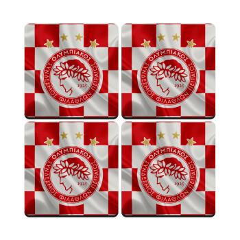 Olympiakos flag, ΣΕΤ 4 Σουβέρ ξύλινα τετράγωνα