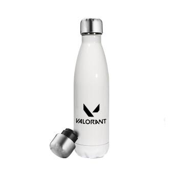 Valorant, Μεταλλικό παγούρι θερμός Λευκό (Stainless steel), διπλού τοιχώματος, 500ml