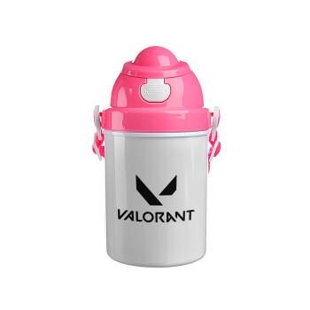 Valorant, Ροζ παιδικό παγούρι πλαστικό (BPA-FREE) με καπάκι ασφαλείας, κορδόνι και καλαμάκι, 400ml