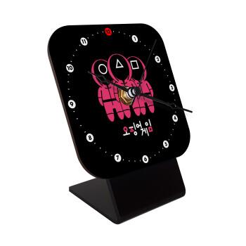 The squid game, Επιτραπέζιο ρολόι ξύλινο με δείκτες (10cm)
