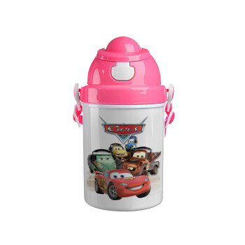 Αυτοκίνητα, Ροζ παιδικό παγούρι πλαστικό (BPA-FREE) με καπάκι ασφαλείας, κορδόνι και καλαμάκι, 400ml