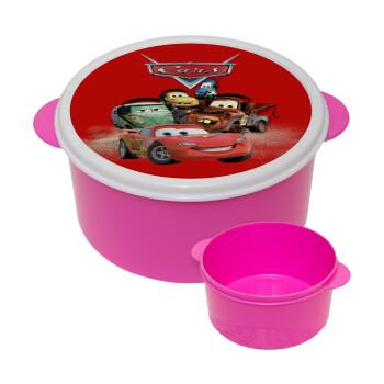 Αυτοκίνητα, ΡΟΖ παιδικό δοχείο φαγητού πλαστικό (BPA-FREE) Lunch Βox M16 x Π16 x Υ8cm