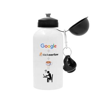 Google + Stack overflow + Coffee, Μεταλλικό παγούρι ποδηλάτου, Λευκό, αλουμινίου 500ml