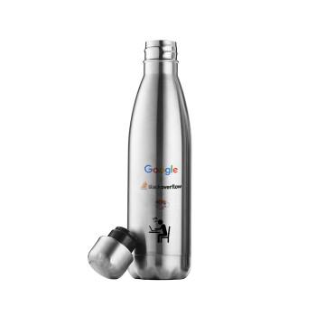 Google + Stack overflow + Coffee, Μεταλλικό παγούρι θερμός Inox (Stainless steel), διπλού τοιχώματος, 500ml
