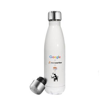 Google + Stack overflow + Coffee, Μεταλλικό παγούρι θερμός Λευκό (Stainless steel), διπλού τοιχώματος, 500ml
