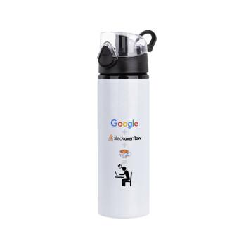 Google + Stack overflow + Coffee, Μεταλλικό παγούρι ποδηλάτου με καπάκι ασφαλείας μαύρο, αλουμινίου 750ml