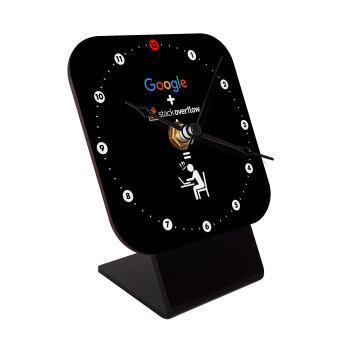 Google + Stack overflow + Coffee, Επιτραπέζιο ρολόι ξύλινο με δείκτες (10cm)