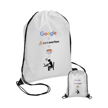 Google + Stack overflow + Coffee, Τσάντα πουγκί με μαύρα κορδόνια 45χ35cm (1 τεμάχιο)