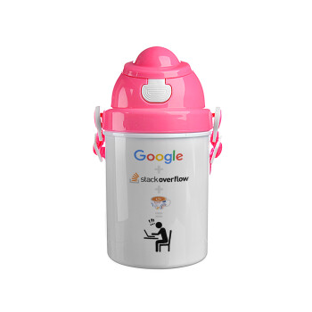 Google + Stack overflow + Coffee, Ροζ παιδικό παγούρι πλαστικό (BPA-FREE) με καπάκι ασφαλείας, κορδόνι και καλαμάκι, 400ml