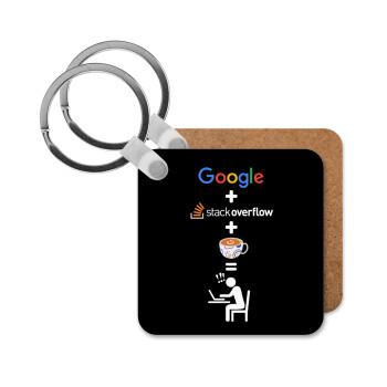 Google + Stack overflow + Coffee, Μπρελόκ Ξύλινο τετράγωνο MDF 5cm (3mm πάχος)