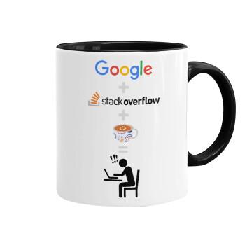 Google + Stack overflow + Coffee, Κούπα χρωματιστή μαύρη, κεραμική, 330ml