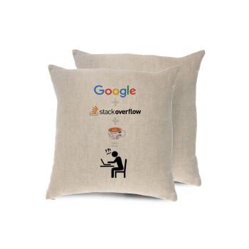 Google + Stack overflow + Coffee, Μαξιλάρι καναπέ ΛΙΝΟ 40x40cm περιέχεται το γέμισμα