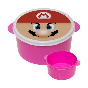 Super mario flat, ΡΟΖ παιδικό δοχείο φαγητού πλαστικό (BPA-FREE) Lunch Βox M16 x Π16 x Υ8cm