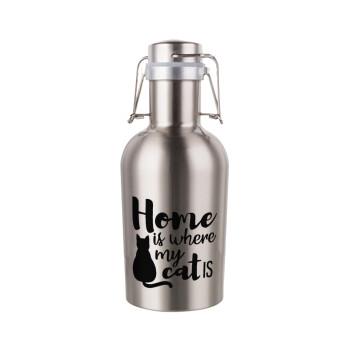 Home is where my cat is!, Μεταλλικό παγούρι Inox (Stainless steel) με καπάκι ασφαλείας 1L