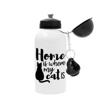 Home is where my cat is!, Μεταλλικό παγούρι ποδηλάτου, Λευκό, αλουμινίου 500ml