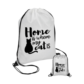 Home is where my cat is!, Τσάντα πουγκί με μαύρα κορδόνια 45χ35cm (1 τεμάχιο)