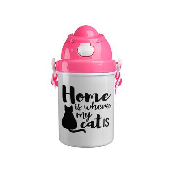 Home is where my cat is!, Ροζ παιδικό παγούρι πλαστικό (BPA-FREE) με καπάκι ασφαλείας, κορδόνι και καλαμάκι, 400ml
