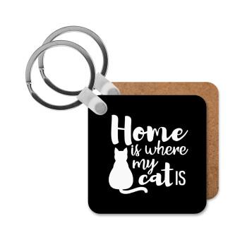 Home is where my cat is!, Μπρελόκ Ξύλινο τετράγωνο MDF 5cm (3mm πάχος)