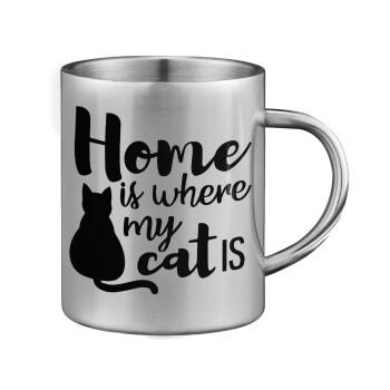 Home is where my cat is!, Κούπα ανοξείδωτη διπλού τοιχώματος μεγάλη 350ml