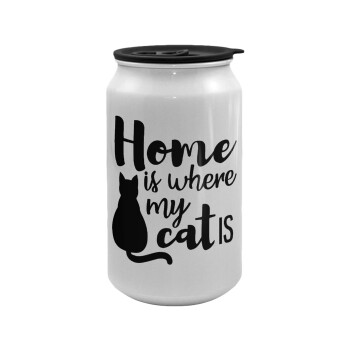 Home is where my cat is!, Κούπα ταξιδιού μεταλλική με καπάκι (tin-can) 500ml