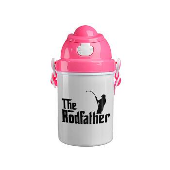 The rodfather, Ροζ παιδικό παγούρι πλαστικό (BPA-FREE) με καπάκι ασφαλείας, κορδόνι και καλαμάκι, 400ml