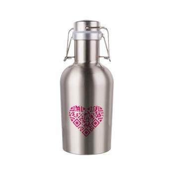 Heart hidden MSG, try me!!!, Μεταλλικό παγούρι Inox (Stainless steel) με καπάκι ασφαλείας 1L