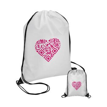 Heart hidden MSG, try me!!!, Τσάντα πουγκί με μαύρα κορδόνια 45χ35cm (1 τεμάχιο)