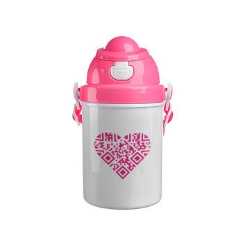 Heart hidden MSG, try me!!!, Ροζ παιδικό παγούρι πλαστικό (BPA-FREE) με καπάκι ασφαλείας, κορδόνι και καλαμάκι, 400ml