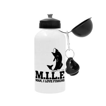 M.I.L.F. Mam i love fishing, Μεταλλικό παγούρι ποδηλάτου, Λευκό, αλουμινίου 500ml