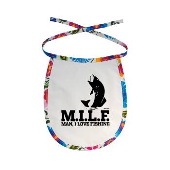 M.I.L.F. Mam i love fishing, Σαλιάρα μωρού αλέκιαστη με κορδόνι Χρωματιστή