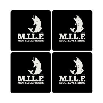 M.I.L.F. Mam i love fishing, ΣΕΤ 4 Σουβέρ ξύλινα τετράγωνα