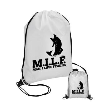 M.I.L.F. Mam i love fishing, Τσάντα πουγκί με μαύρα κορδόνια 45χ35cm (1 τεμάχιο)