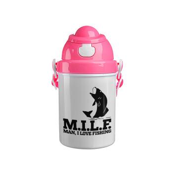 M.I.L.F. Mam i love fishing, Ροζ παιδικό παγούρι πλαστικό (BPA-FREE) με καπάκι ασφαλείας, κορδόνι και καλαμάκι, 400ml