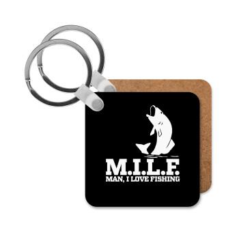 M.I.L.F. Mam i love fishing, Μπρελόκ Ξύλινο τετράγωνο MDF 5cm (3mm πάχος)