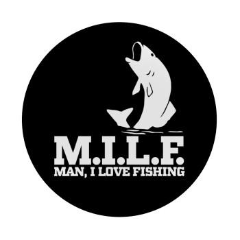 M.I.L.F. Mam i love fishing, Mousepad Στρογγυλό 20cm