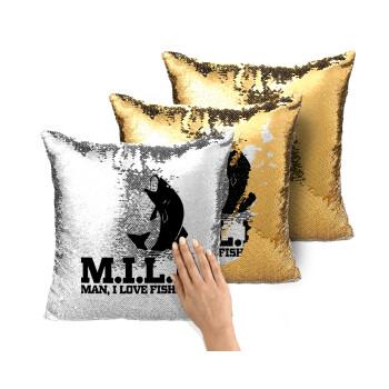 M.I.L.F. Mam i love fishing, Μαξιλάρι καναπέ Μαγικό Χρυσό με πούλιες 40x40cm περιέχεται το γέμισμα