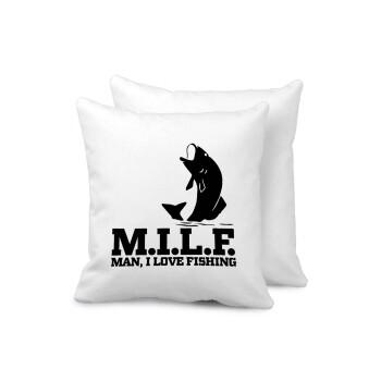 M.I.L.F. Mam i love fishing, Μαξιλάρι καναπέ 40x40cm περιέχεται το γέμισμα