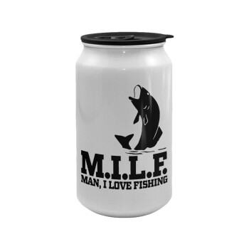 M.I.L.F. Mam i love fishing, Κούπα ταξιδιού μεταλλική με καπάκι (tin-can) 500ml
