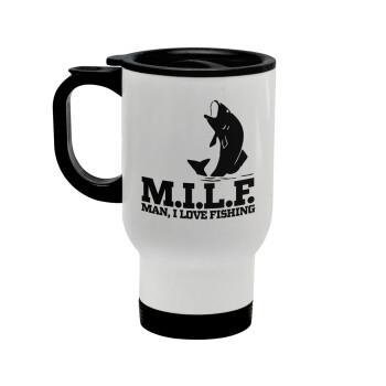 M.I.L.F. Mam i love fishing, Κούπα ταξιδιού ανοξείδωτη με καπάκι, διπλού τοιχώματος (θερμό) λευκή 450ml