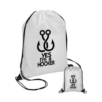 Yes i am Hooker, Τσάντα πουγκί με μαύρα κορδόνια 45χ35cm (1 τεμάχιο)
