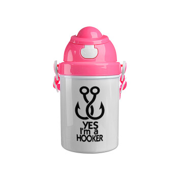 Yes i am Hooker, Ροζ παιδικό παγούρι πλαστικό (BPA-FREE) με καπάκι ασφαλείας, κορδόνι και καλαμάκι, 400ml