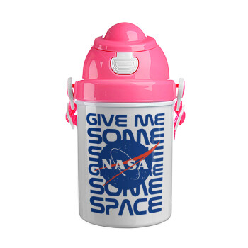 NASA give me some space, Ροζ παιδικό παγούρι πλαστικό (BPA-FREE) με καπάκι ασφαλείας, κορδόνι και καλαμάκι, 400ml