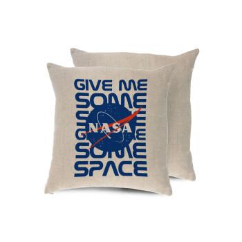 NASA give me some space, Μαξιλάρι καναπέ ΛΙΝΟ 40x40cm περιέχεται το γέμισμα