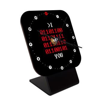I .... YOU, binary secret MSG, Επιτραπέζιο ρολόι ξύλινο με δείκτες (10cm)