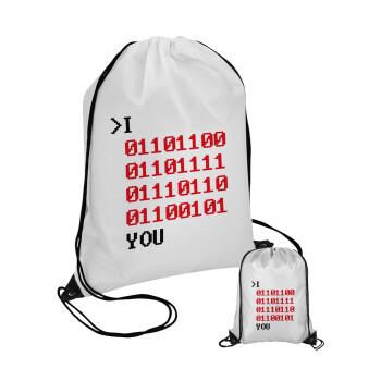 I .... YOU, binary secret MSG, Τσάντα πουγκί με μαύρα κορδόνια 45χ35cm (1 τεμάχιο)