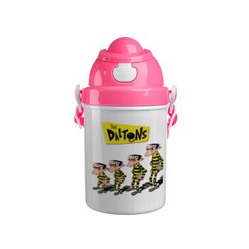 The Daltons, Ροζ παιδικό παγούρι πλαστικό (BPA-FREE) με καπάκι ασφαλείας, κορδόνι και καλαμάκι, 400ml