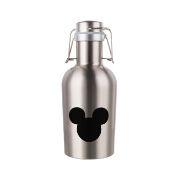 mouse man, Μεταλλικό παγούρι Inox (Stainless steel) με καπάκι ασφαλείας 1L