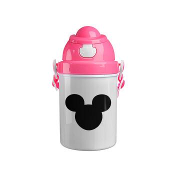 mouse man, Ροζ παιδικό παγούρι πλαστικό (BPA-FREE) με καπάκι ασφαλείας, κορδόνι και καλαμάκι, 400ml